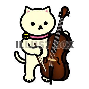 無料イラスト しろねこコントラバス奏者