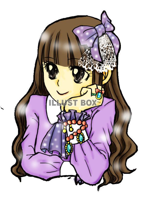 無料イラスト 昔の少女マンガ風女の子透過pngアニメマンガ風人物