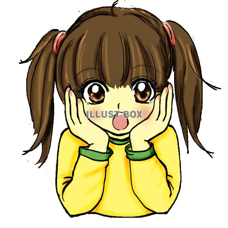 無料イラスト びっくり女の子 透過pngアニメ マンガ風人物イラスト
