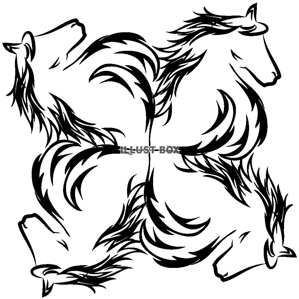無料イラスト 【ワンポイントイラスト】 年賀状 トライバルデザイン 馬