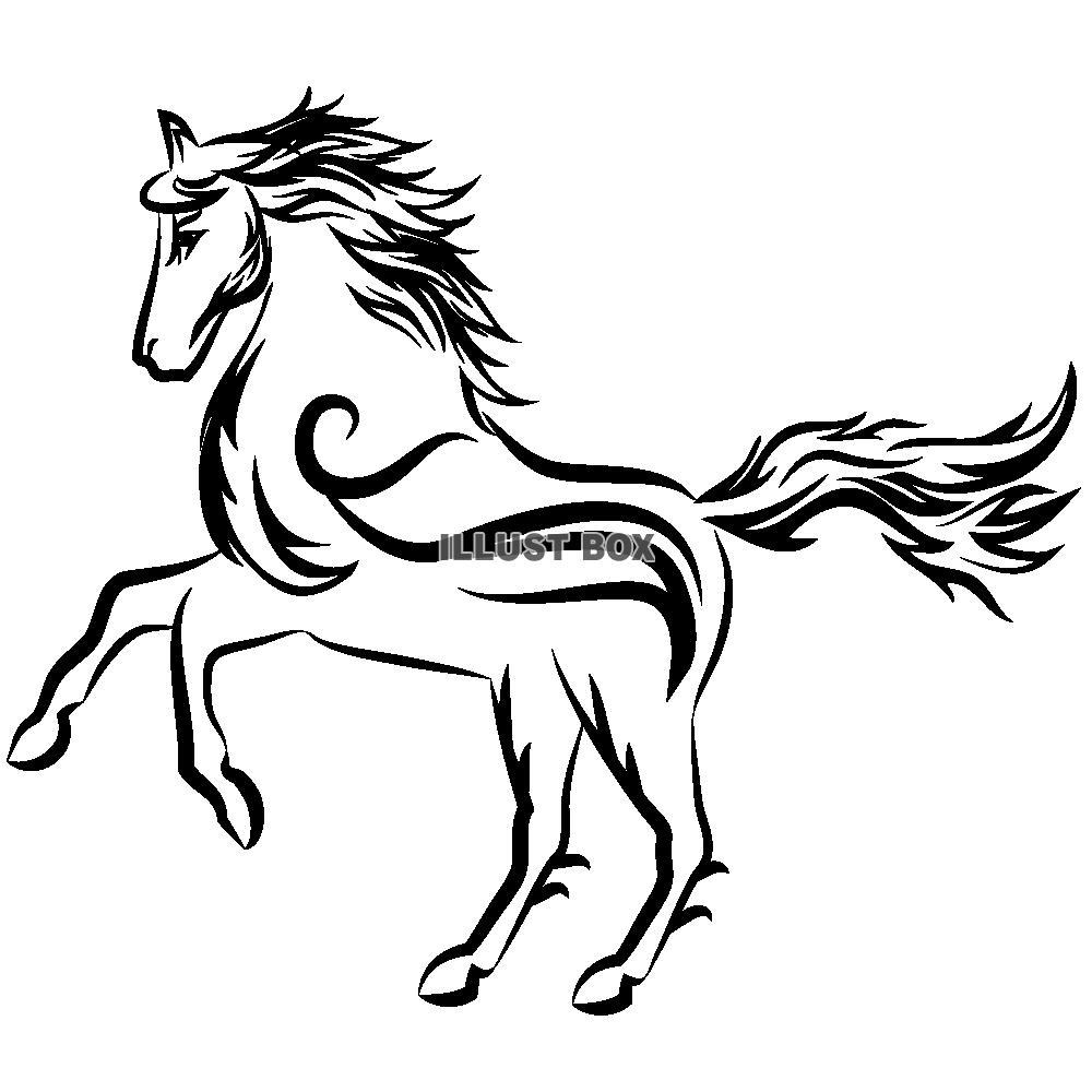 無料イラスト 【ワンポイントイラスト】 年賀状 トライバルデザイン 馬 透