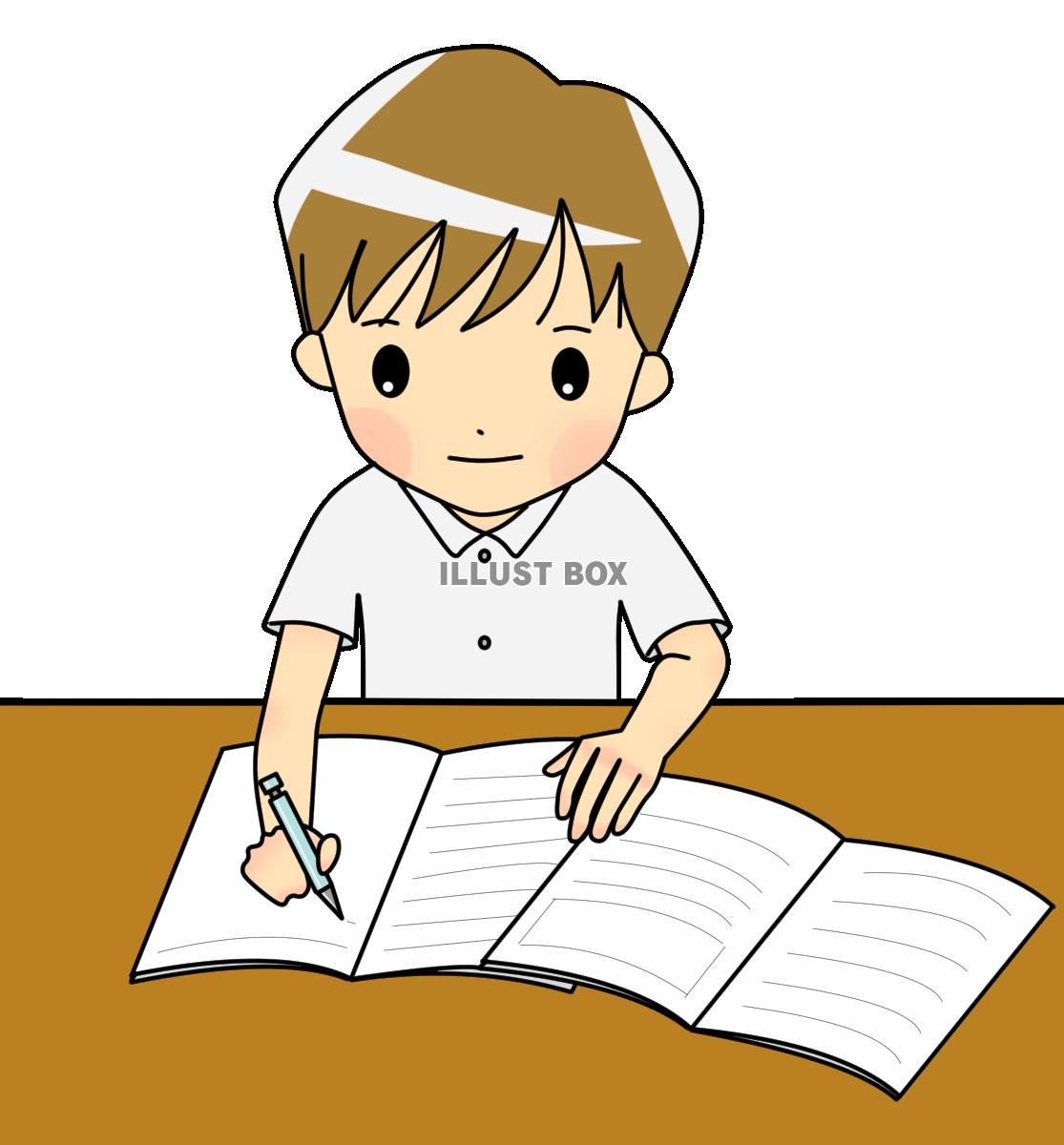 無料イラスト 【透過PNG】勉強する中学生2 夏服