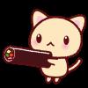 節分・猫と恵方巻きのイラスト【透過PNG】