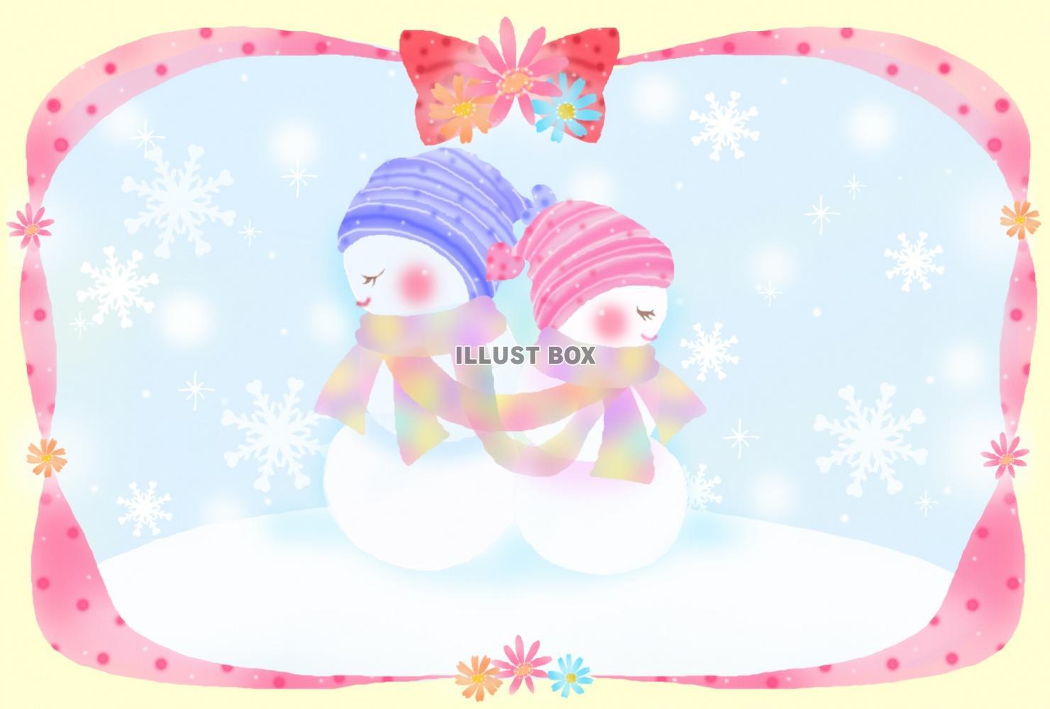 無料イラスト 雪だるまのマフラーカップル