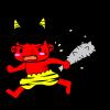節分豆まき・逃げる鬼のイラスト【透過PNG】