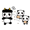 節分・パンダの豆まきイラスト【透過PNG】