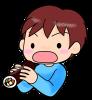 恵方巻きを食べる男の子・節分【透過PNG】