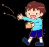 節分・豆まきをしている男の子のイラスト【透過PNG】