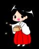 節分・豆まきをする巫女さんイラスト【透過PNG】