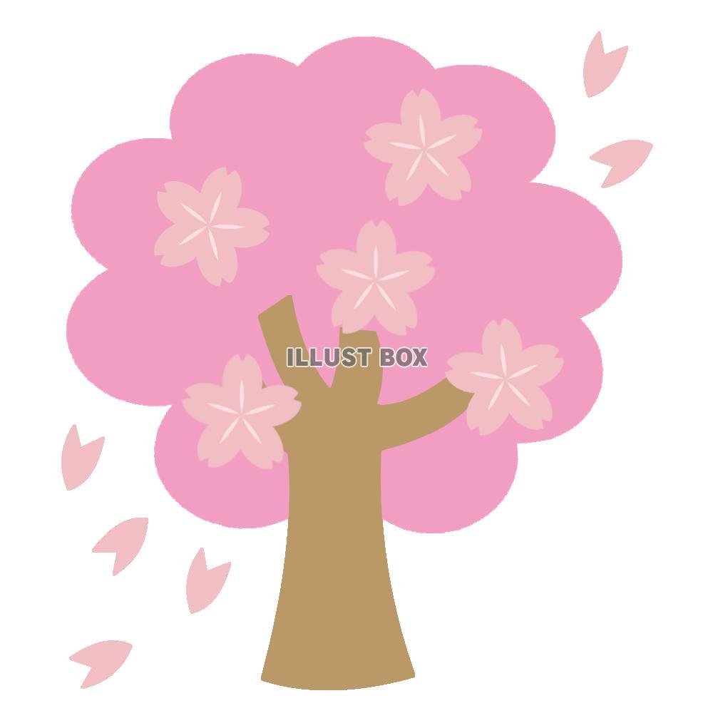 無料イラスト ポップな桜の木