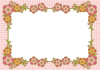 千代紙みたいな桃の花フレーム<ひな祭り>