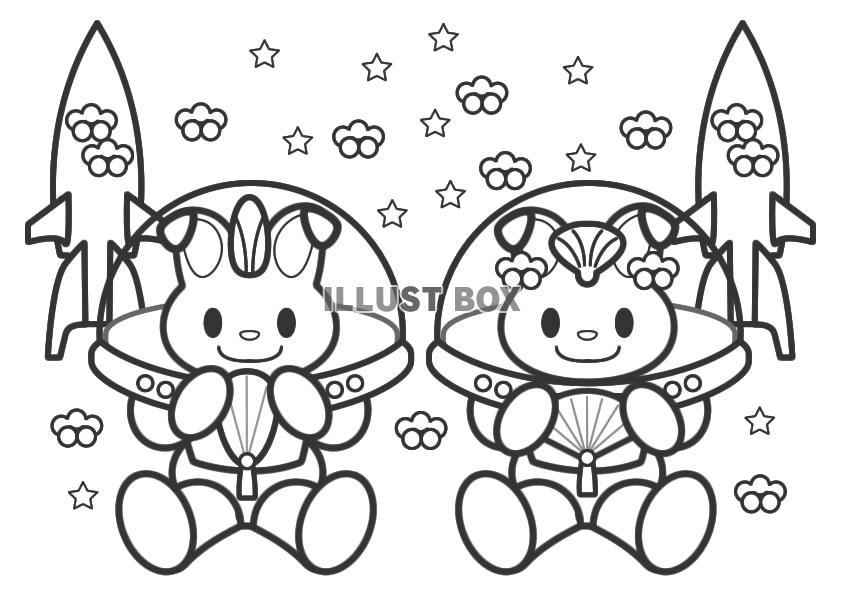... うさぎの宇宙飛行士・ぬりえ : ぬりえ 無料 ダウンロード キャラクター : 無料