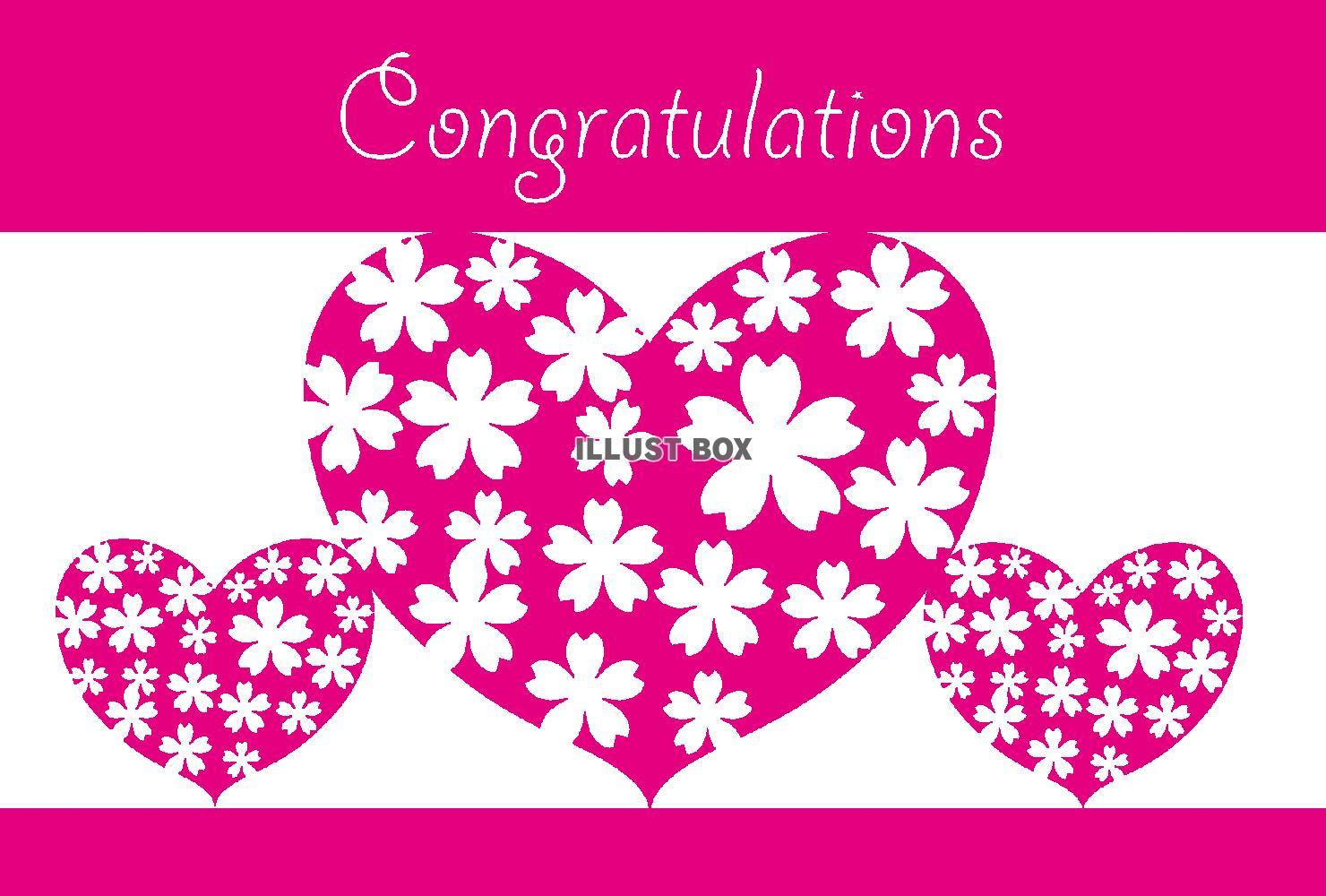 無料イラスト 花柄ハートのピンクのメッセージカード