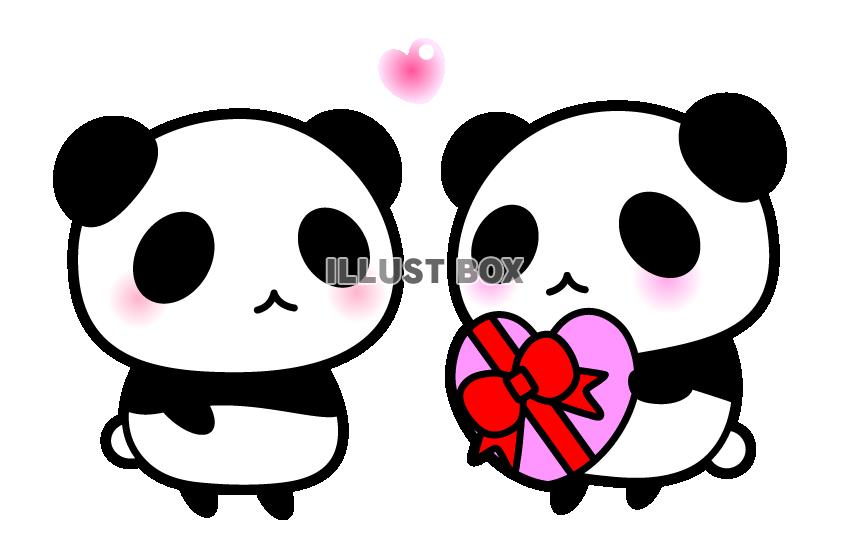 無料イラスト バレンタインデーハートのチョコをわたすパンダちゃん