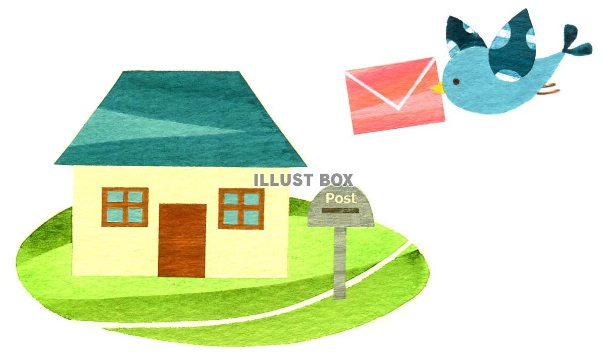 無料イラスト 手紙を運ぶ青い鳥