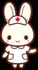うさぎの看護師さん<こちらへ・左手>