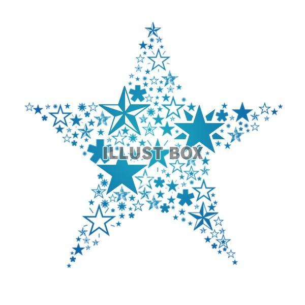 無料イラスト 青い星でできた星