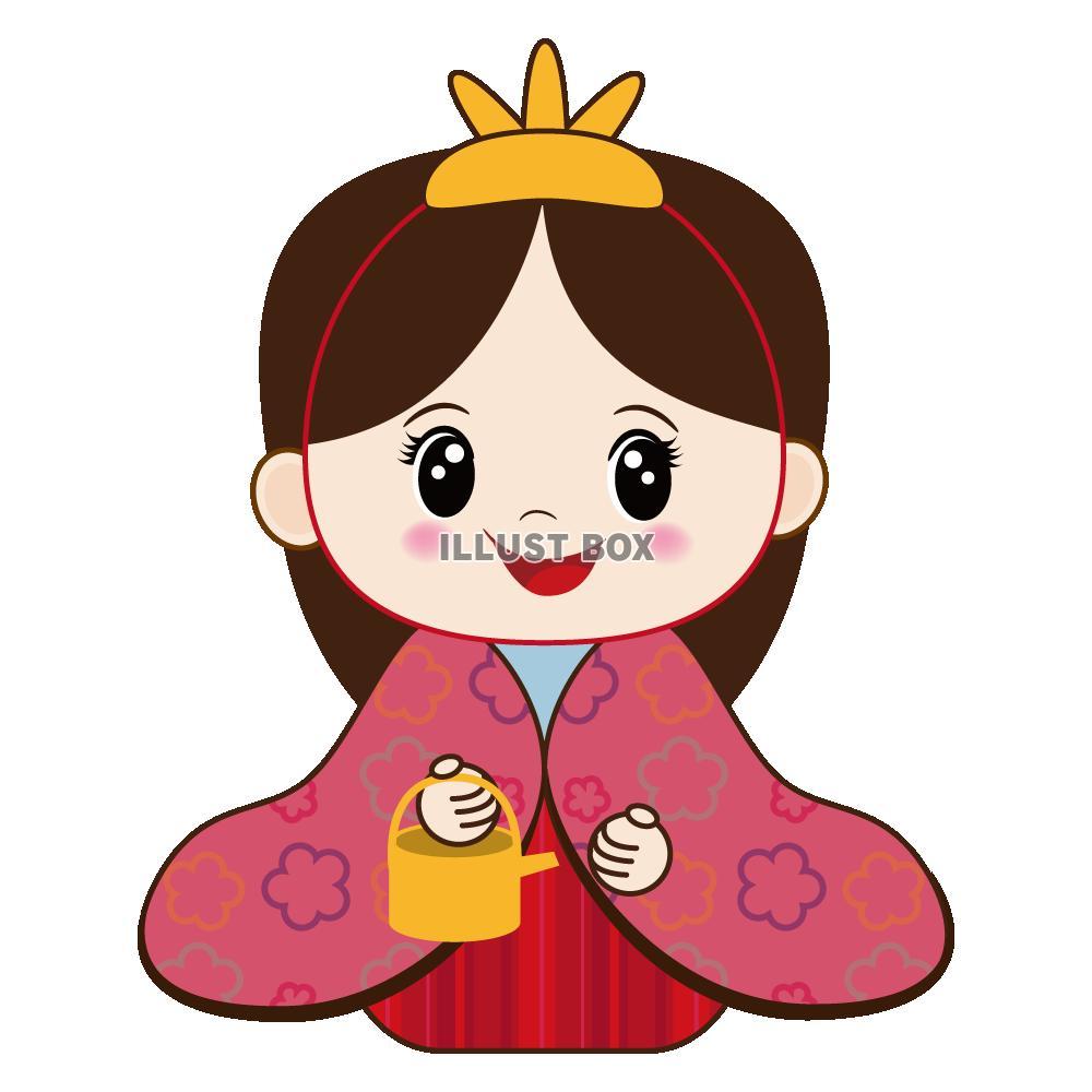 無料イラスト 【ワンポイントイラスト】ひな祭り 三人官女01 桃の節句