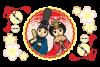 ひな祭りイラストカットデザインイメージ素材「お内裏様とお雛様キャラクター桜鞠和風」EPS(ベクターデータ)/透過PNG/はがきサイズ/600dpi
