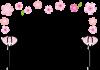 ひな祭り 桃の花とぼんぼりのフレーム【透過PNG】