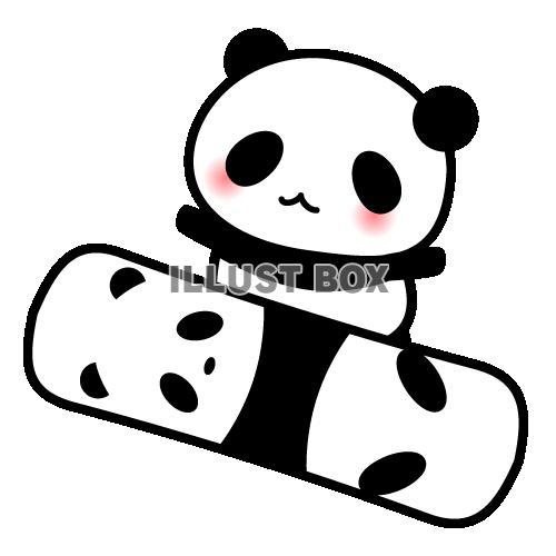無料イラスト スノーボードを楽しむパンダちゃんのイラスト