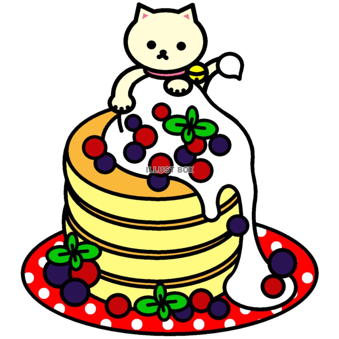 無料イラスト しろねこパンケーキ