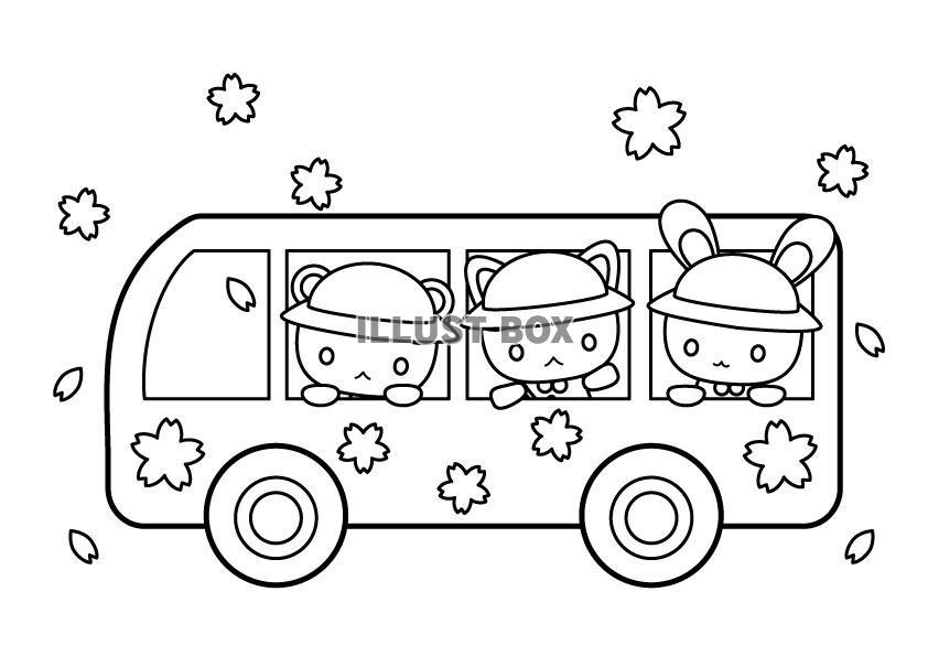 無料イラスト バスに乗った動物園児たちの塗り絵
