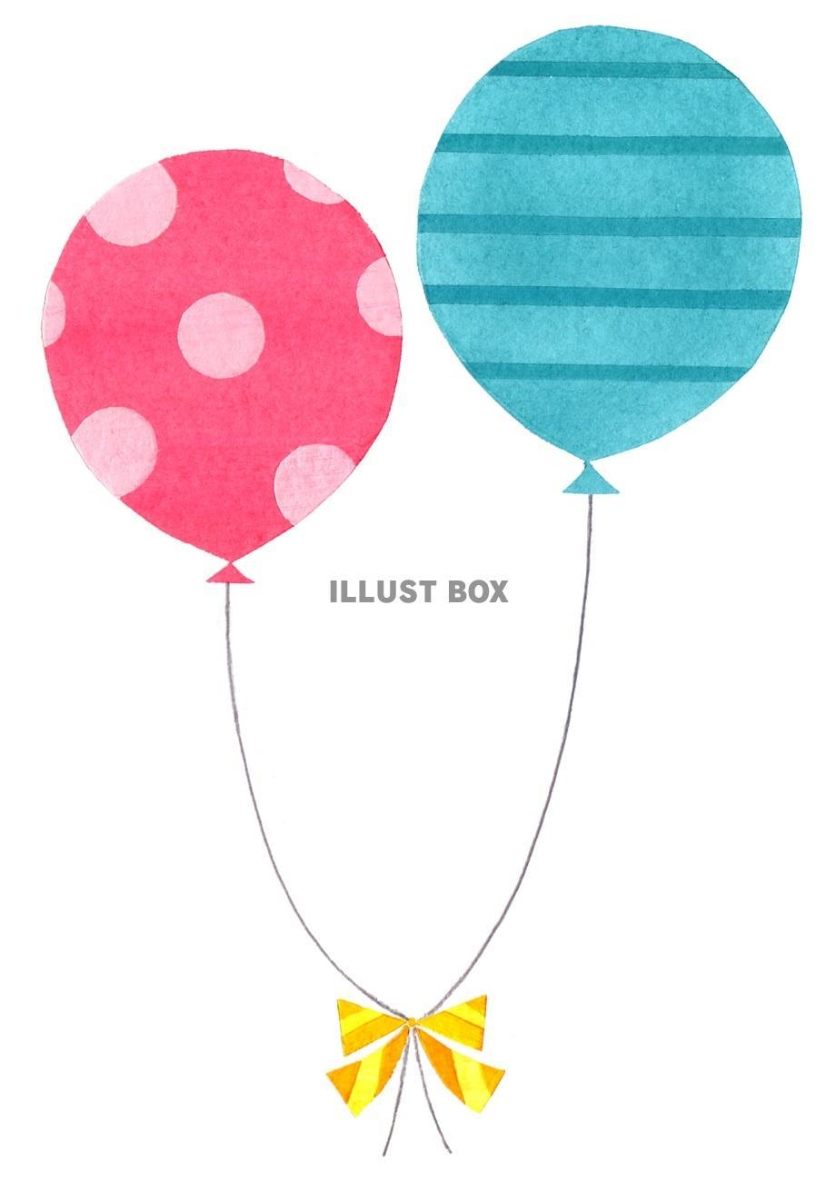 無料イラスト 水玉とボーダーの風船