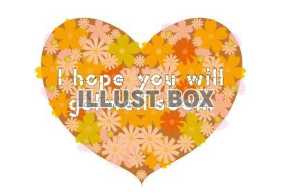 病気見舞いの励ましのハートの花柄メッセージカード : イラスト無料