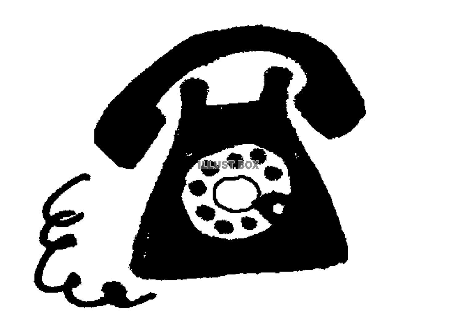無料イラスト 【透過png】黒電話【ワンポイント】