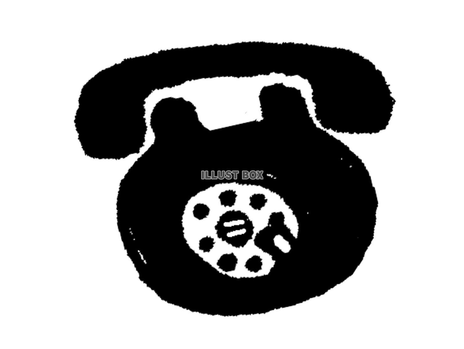 無料イラスト 【透過png】黒電話【モノクロ】