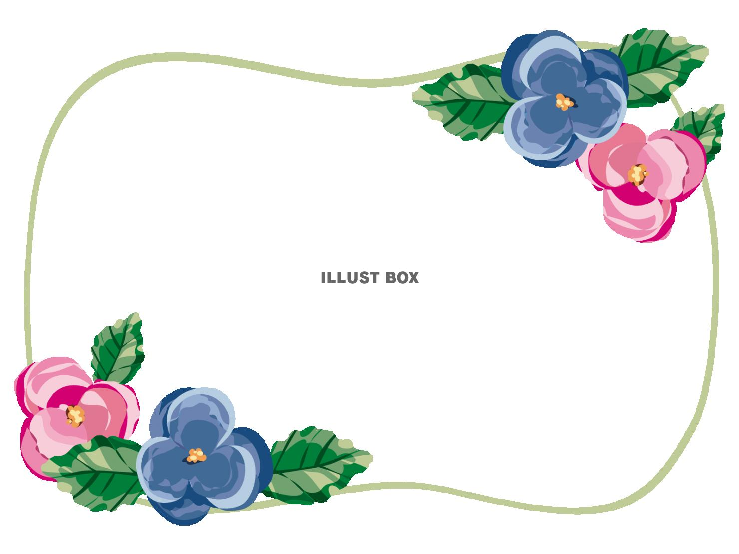 無料イラスト 透過pngかわいい花のフレーム
