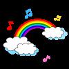 シンプルな虹と音符♪のイラスト