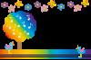 虹色の木と音符がコラボした可愛いPNGカード