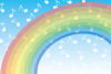 虹と青空に雲のように浮かぶ音符記号のイラスト