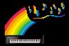 虹色模様のグランドピアノと音符記号のイラストPNG透過