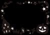 ハロウィンフレーム2 モノクロ【透過PNG】