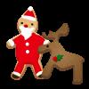 サンタとトナカイのクッキー 透過PNG