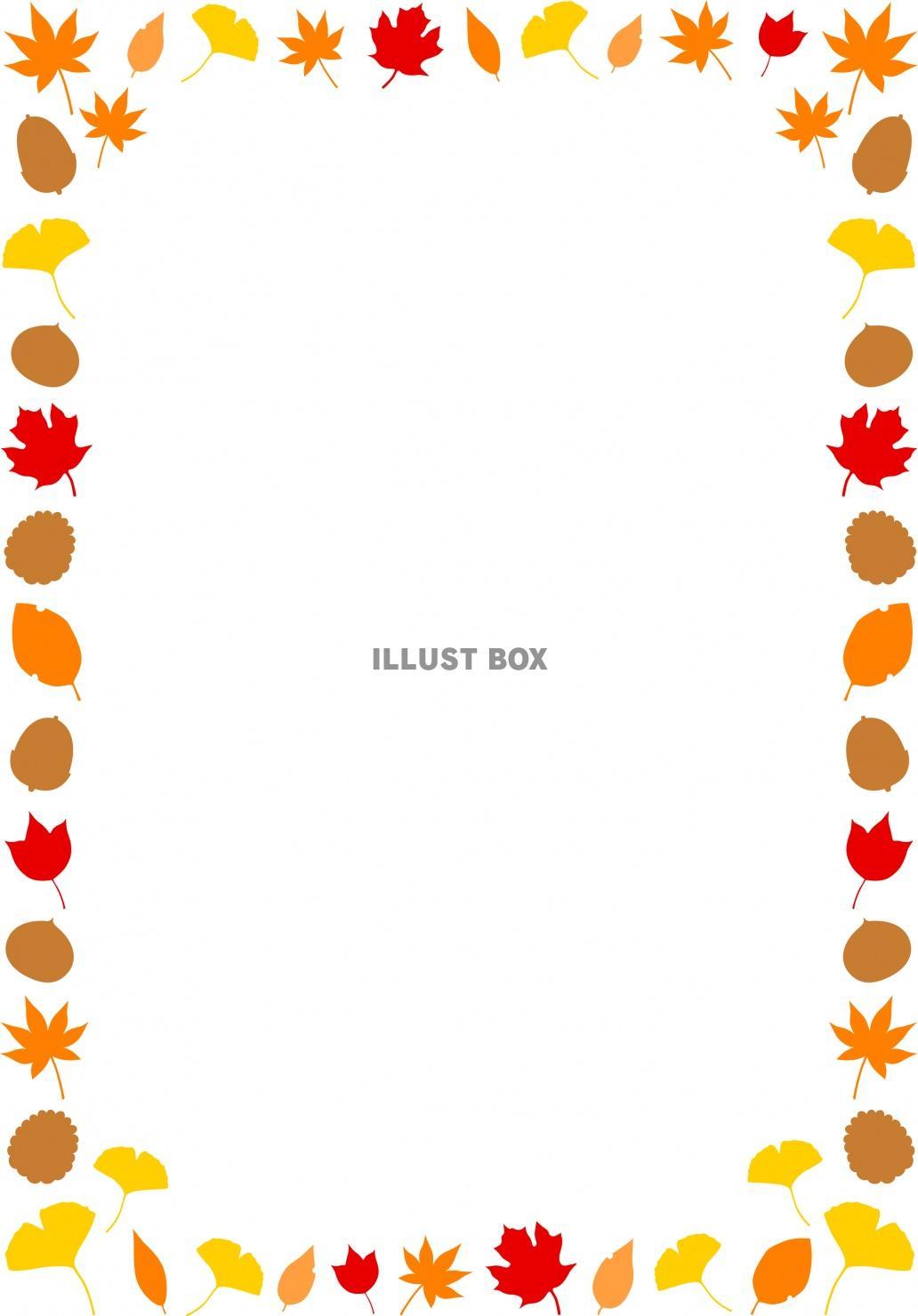 無料イラスト 秋の落ち葉のフレーム(縦)