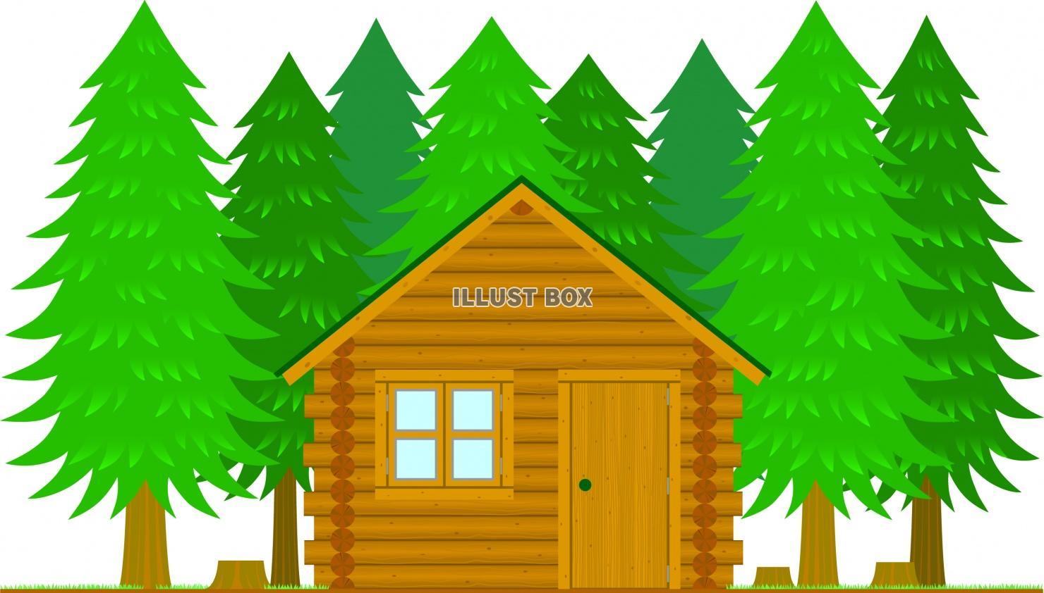 無料イラスト 森のログハウス