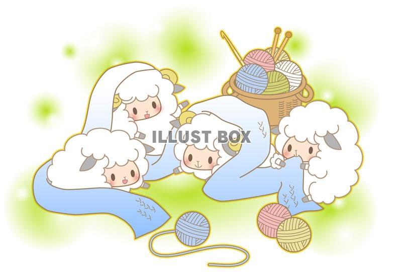 無料イラスト マフラーと羊たち