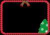 クリスマスツリーとリボンのフレーム【透過PNG】