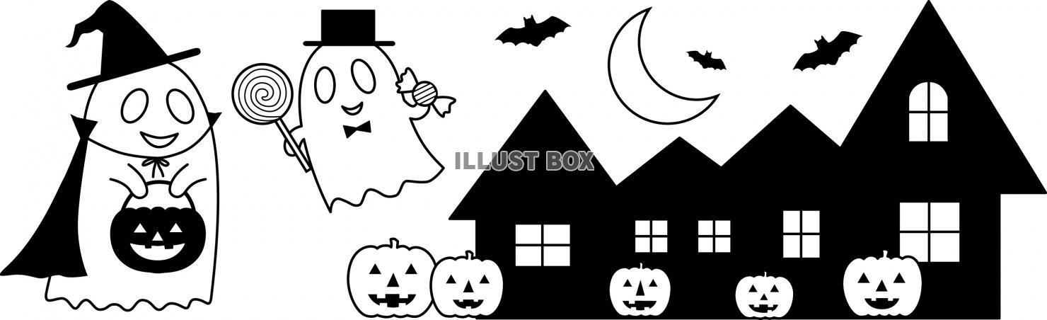 無料イラスト ハロウィンの夜の白黒イラスト