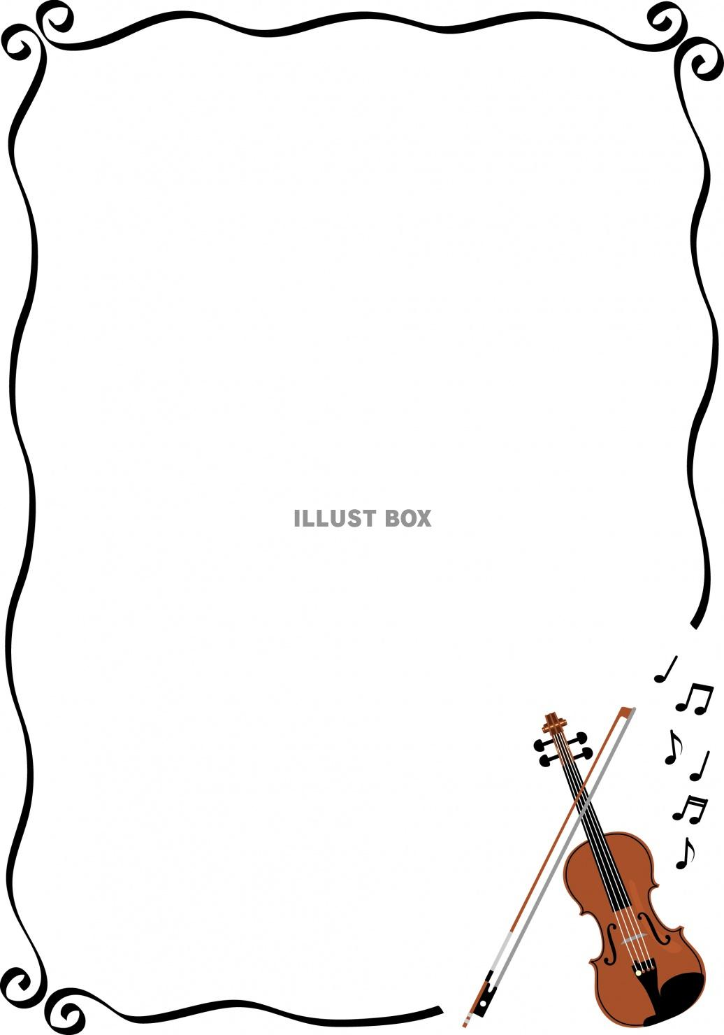 無料イラスト バイオリンとシンプルなラインのフレーム
