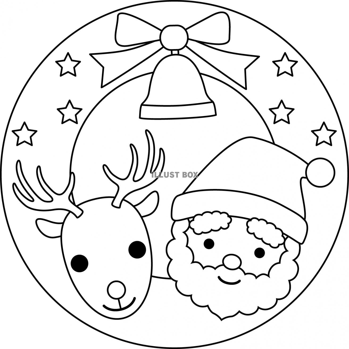 無料イラスト サンタとトナカイのミニリース白黒