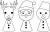 サンタとトナカイと雪だるま(白黒)