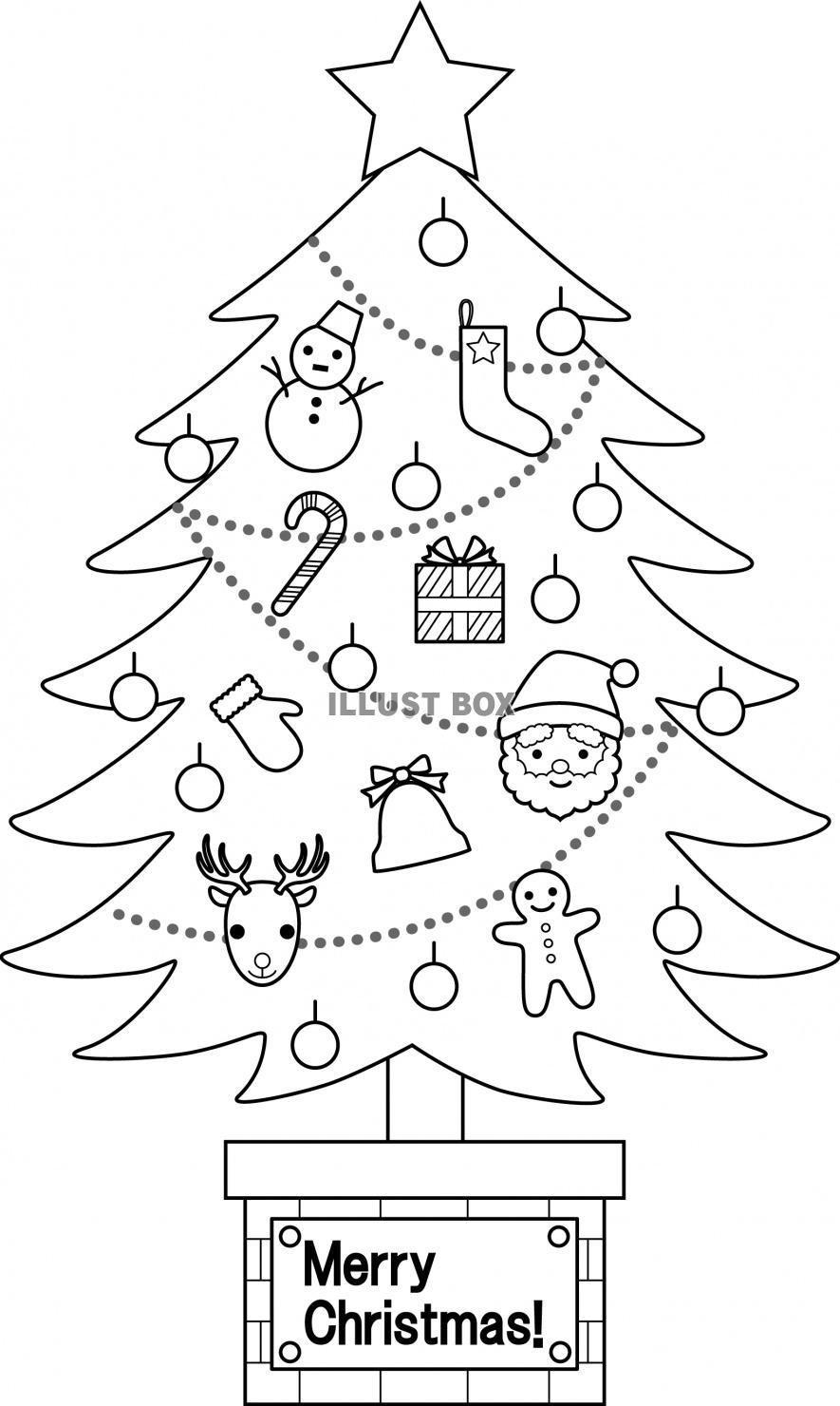 無料イラスト クリスマスツリー(モノクロ)