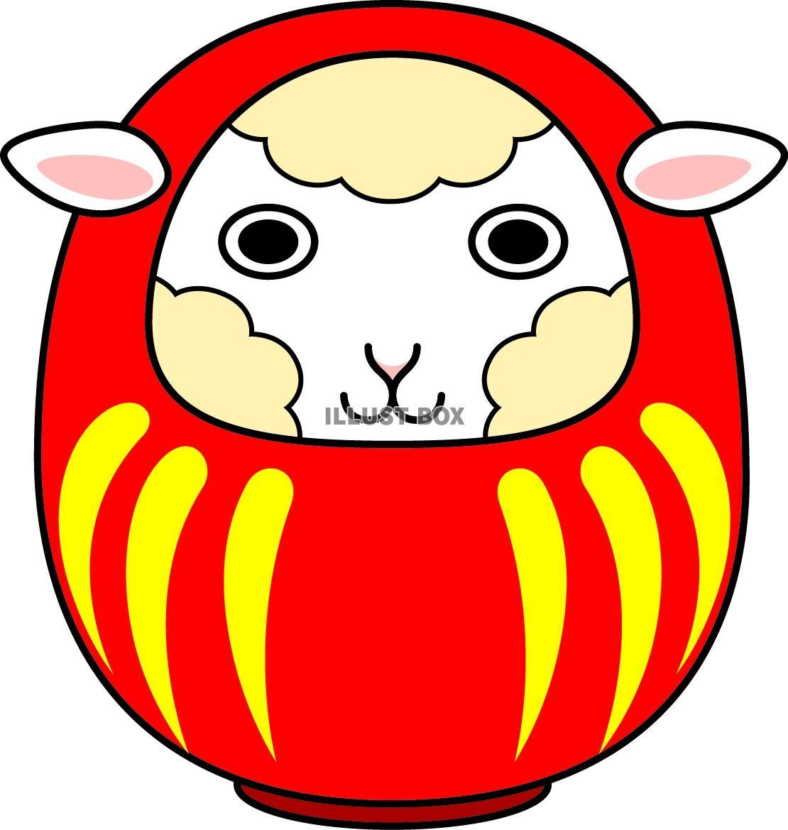 白い顔の羊のだるま(赤・文字 ...