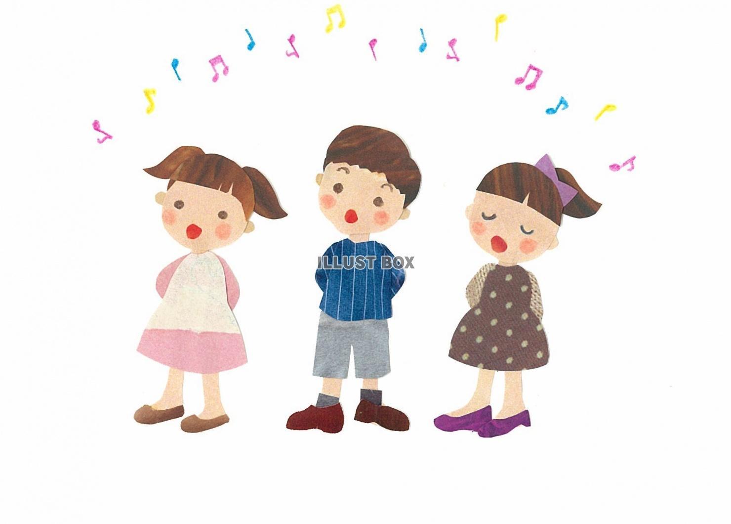 無料イラスト 子供たちの合唱