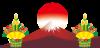 年賀状用イラスト富士山と門松